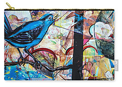 Carry-all Pouch featuring the mixed media Bluebird Signs by Terry Rowe