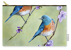 Bluebirds And Blossoms Carry-all Pouch