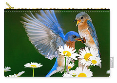 Bluebirds And Daisies Carry-all Pouch
