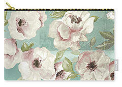 Blush Flowers On Teal Carry-all Pouch