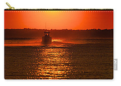Boat At Sunset Carry-all Pouch
