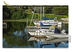 Carry-all Pouch featuring the photograph Boat Reflections In Cape Cod Hen Cove by Eleanor Abramson