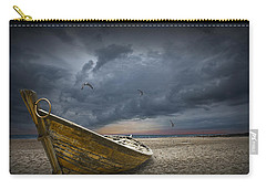 Boat With Gulls On The Beach With Oncoming Storm Carry-all Pouch