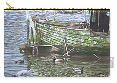 Carry-all Pouch featuring the painting Boat Wreck With Sea Birds by Martin Davey