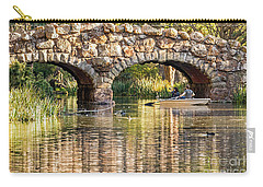 Carry-all Pouch featuring the photograph Boaters Under The Bridge by Kate Brown