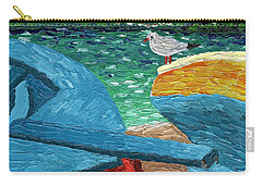 Carry-all Pouch featuring the painting Boats And Bird At Rest by Laura Forde