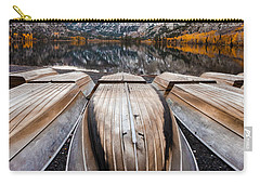 Boats At Mountain Lake In Autumn Fine Art Photograph Print Carry-all Pouch