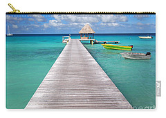 Boats At The Jetty In A Tropical Turquoise Lagoon Carry-all Pouch