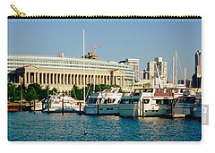 Boats Moored At A Dock, Chicago Carry-all Pouch by Panoramic Images