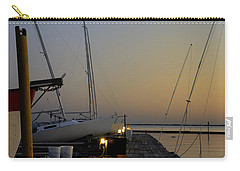 Carry-all Pouch featuring the photograph Boats Moored To Pier At Sunset by Charles Beeler