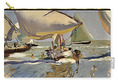 Boats On The Shore Carry-all Pouch by Joaquin Sorolla y Bastida