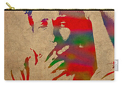 Bob Dylan Watercolor Portrait On Worn Distressed Canvas Carry-all Pouch by Design Turnpike