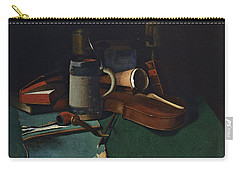 Books Mug Pipe And Violin Carry-all Pouch by John Frederick Peto
