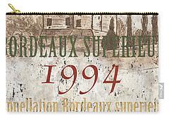Bordeaux Blanc Label 2 Carry-all Pouch by Debbie DeWitt