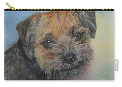Carry-all Pouch featuring the painting Border Terrier Jack by Richard James Digance