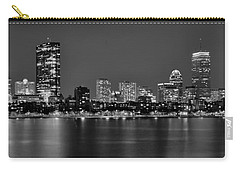 Boston Back Bay Skyline At Night Black And White Bw Panorama Carry-all Pouch