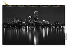 Boston Skyline By Night - Black And White Carry-all Pouch