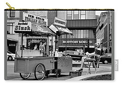 Boston Street Scene Black And White Carry-all Pouch