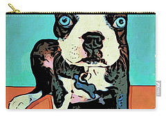 Boston Terrier - Blue Carry-all Pouch by Rebecca Korpita