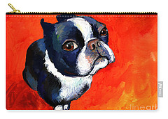 Boston Terrier Dog Painting Prints Carry-all Pouch by Svetlana Novikova