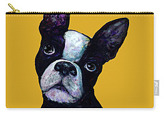 Boston Terrier On Yellow Carry-all Pouch