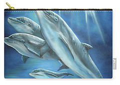 Carry-all Pouch featuring the painting Bottlenose Dolphins by Thomas J Herring