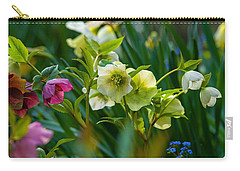 Carry-all Pouch featuring the photograph Bouquet Of Lenten Roses by Jordan Blackstone