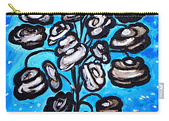 Carry-all Pouch featuring the painting Bouquet Of White Poppies by Ramona Matei
