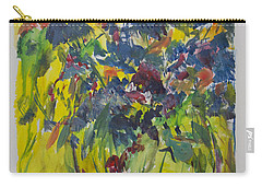 Carry-all Pouch featuring the painting Bouquet With Blue Flowers by Avonelle Kelsey