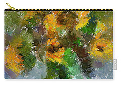 Carry-all Pouch featuring the painting Bouquet With Sunflowers by Dragica  Micki Fortuna