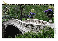 Bow Bridge Flower Pots - Central Park N Y C Carry-all Pouch by Christiane Schulze Art And Photography