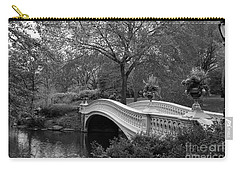 Bow Bridge Nyc In Black And White Carry-all Pouch by Christiane Schulze Art And Photography