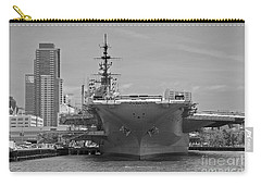 Bow Of The Uss Midway Museum Cv 41 Aircraft Carrier - Black And White Carry-all Pouch