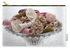 Bowl Of Potpourri On Lace Carry-all Pouch by Connie Fox
