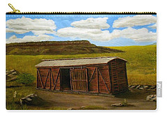 Carry-all Pouch featuring the painting Boxcar On The Plains by Sheri Keith