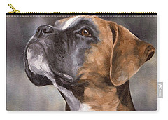 Boxer Painting Carry-all Pouch by Rachel Stribbling