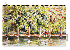 Boy Fishing With Dog Carry-all Pouch