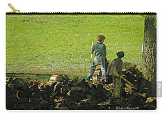 Carry-all Pouch featuring the photograph Boys Will Be Boys by Kathy Barney