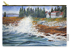 Carry-all Pouch featuring the painting Breakers At Pemaquid by Roger Rockefeller