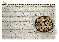 Carry-all Pouch featuring the photograph Bricks In The Wall - Abstract by Steven Milner