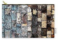 Carry-all Pouch featuring the photograph Bricks Of Turquoise And Gold by Stephanie Grant