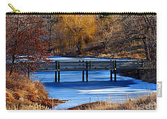 Carry-all Pouch featuring the photograph Bridge Over Icy Waters by Elizabeth Winter
