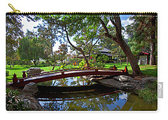 Carry-all Pouch featuring the photograph Bridge Over Japanese Gardens Tea House by Jerry Cowart