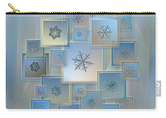 Carry-all Pouch featuring the photograph Snowflake Collage - Bright Crystals 2012-2014 by Alexey Kljatov