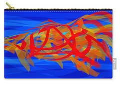 Carry-all Pouch featuring the digital art Bright Fish In Blue Water by Stephanie Grant