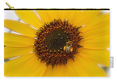 Carry-all Pouch featuring the photograph Vibrant Bright Yellow Sunflower With Honey Bee  by Jerry Cowart
