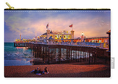 Carry-all Pouch featuring the photograph Brighton's Palace Pier At Dusk by Chris Lord