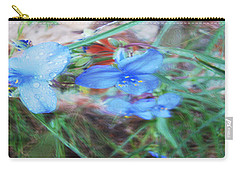 Carry-all Pouch featuring the photograph Brilliant Blue Flowers by Cathy Anderson