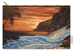 Carry-all Pouch featuring the painting Brilliant Hawaiian Sunset 1 by Jenny Lee
