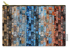 Carry-all Pouch featuring the digital art Bronze Blue Wall by Stephanie Grant